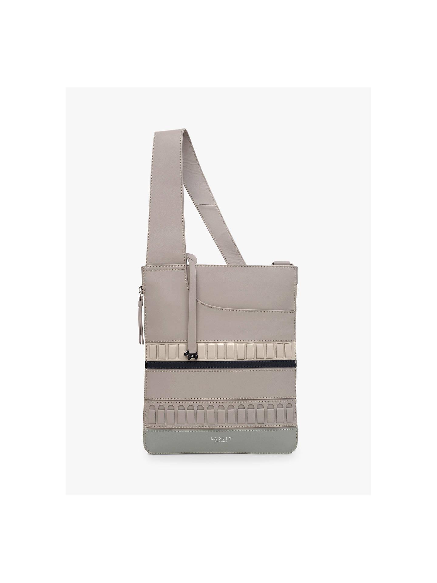 29d1af2ce4ab Buy Radley Pockets Leather Medium Zip Top Cross Body Bag, Dove Grey Online  at johnlewis