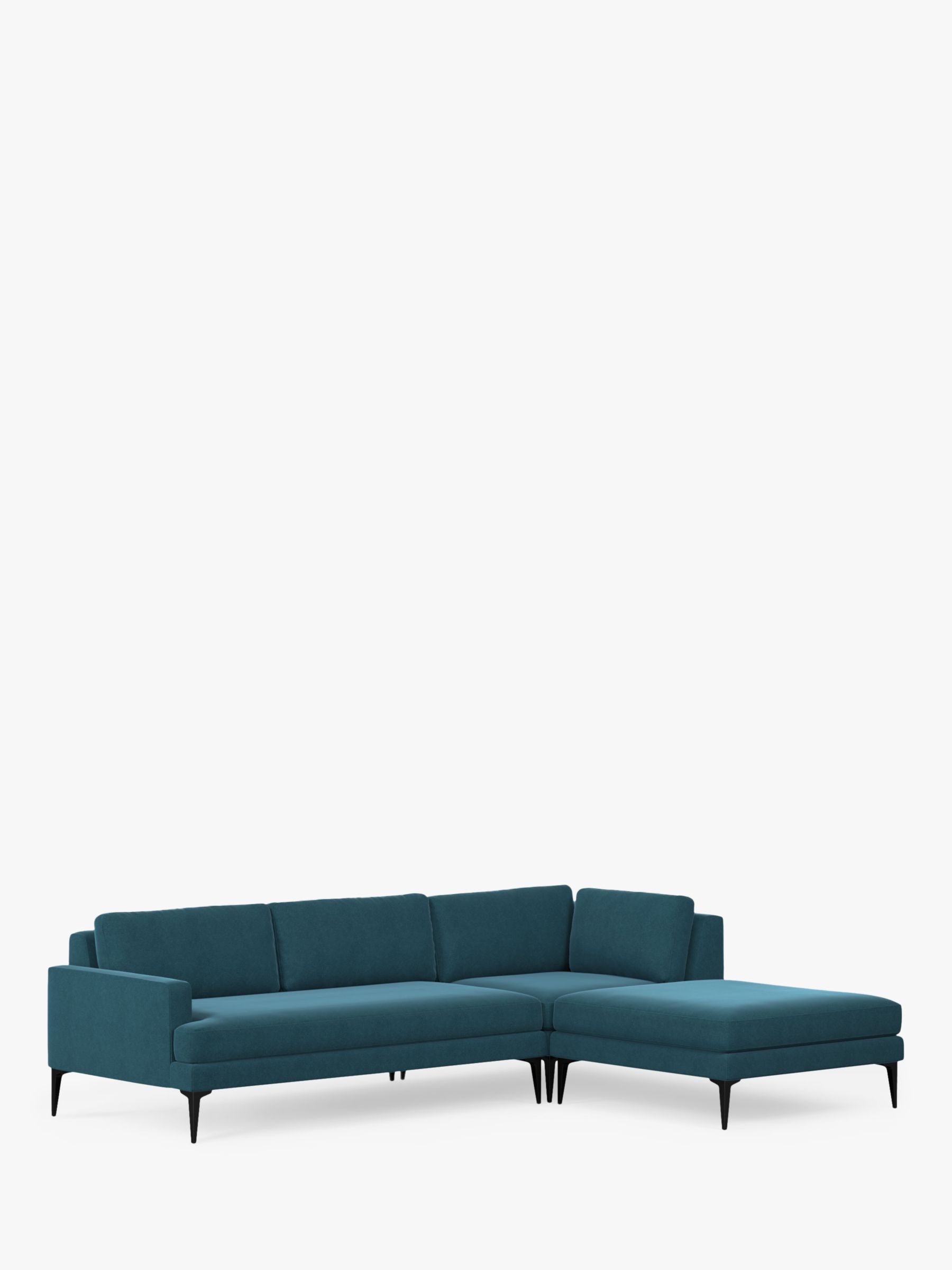 West Elm Andes Large 3 Seater Rhf Sectional Sofa Lagoon Velvet