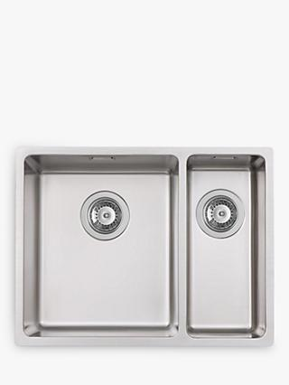John Lewis & Partners 1.5 Left-Hand Bowl Squared Kitchen Sink, Stainless Steel