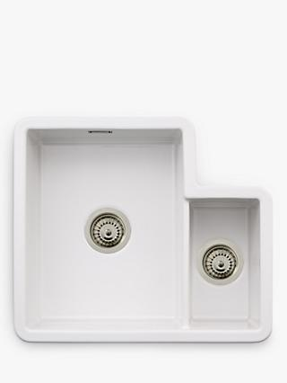 John Lewis & Partners 1.5 Bowl Ceramic Kitchen Sink with Left Hand Bowl, White