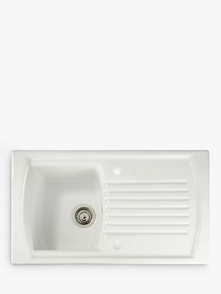 John Lewis & Partners Single Bowl Inset Ceramic Kitchen Sink & Drainer, White