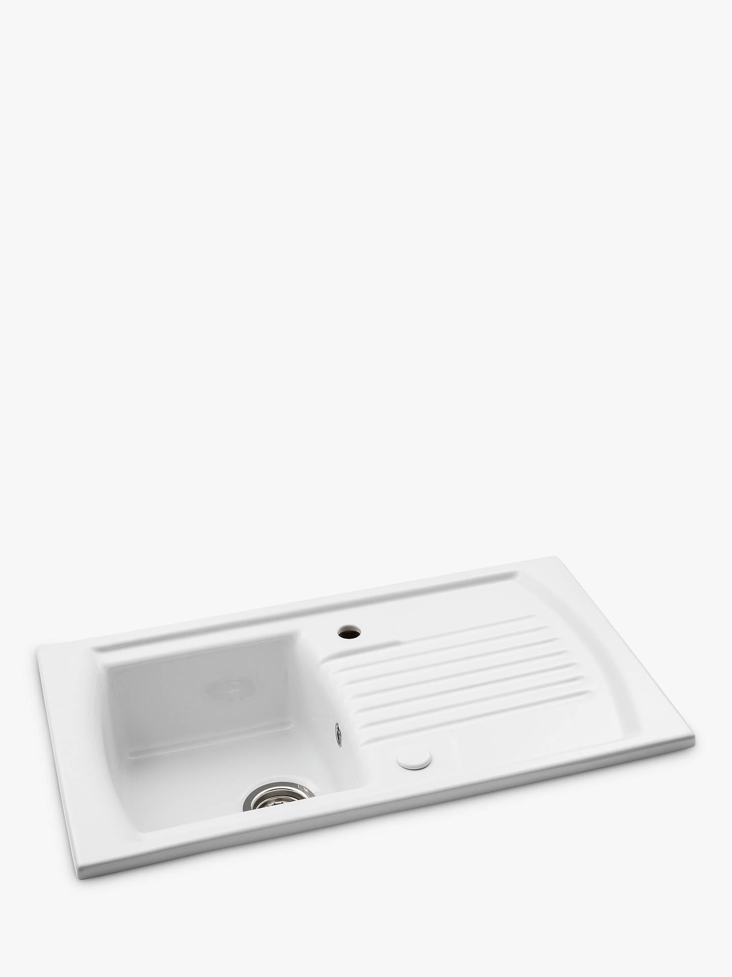 John Lewis Partners Single Bowl Inset Ceramic Kitchen Sink Drainer White At John Lewis Partners
