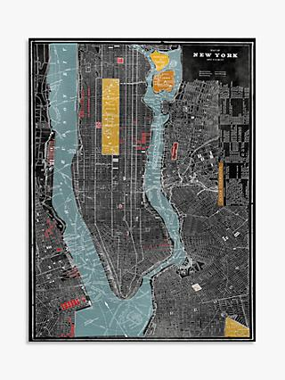 New York Map Framed Panel, 121 x 91cm, Black/Multi
