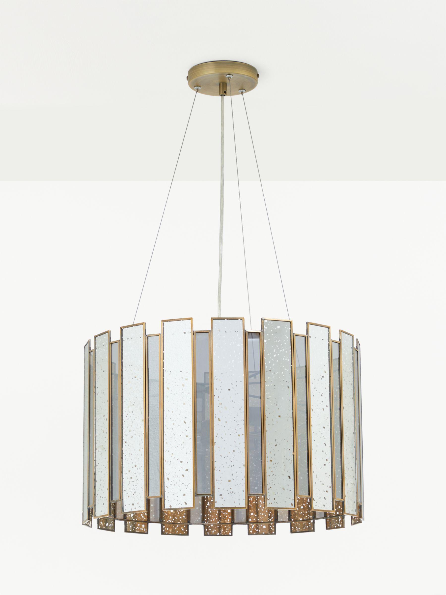 John Lewis Partners Romy Mirrored Glass Panelled Ceiling Light Metallic Silver At John Lewis Partners