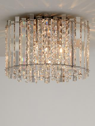 John Lewis & Partners Dazzle Crystal Semi Flush Ceiling Light, Clear