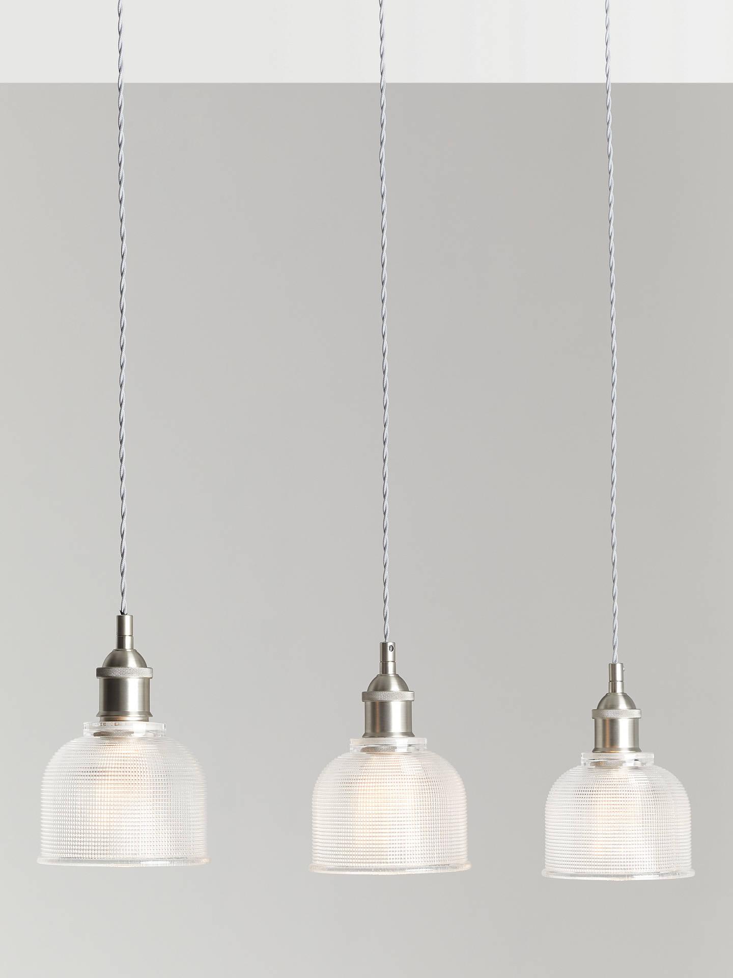John Lewis Partners Ezra 3 Pendant Prismatic Glass Ceiling Light Pewter At John Lewis Partners