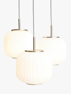 Buy John Lewis & Partners Rise 3 Glass Pendant Cluster Ceiling Light, White/Grey Online at johnlewis.com