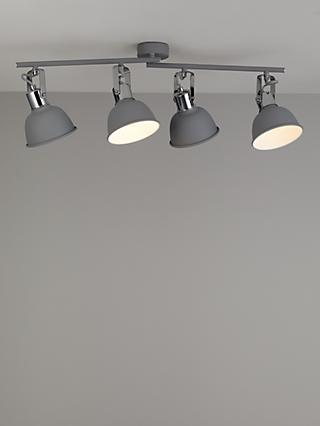 John Lewis & Partners SES LED 4 Spotlight Ceiling Bar, Grey
