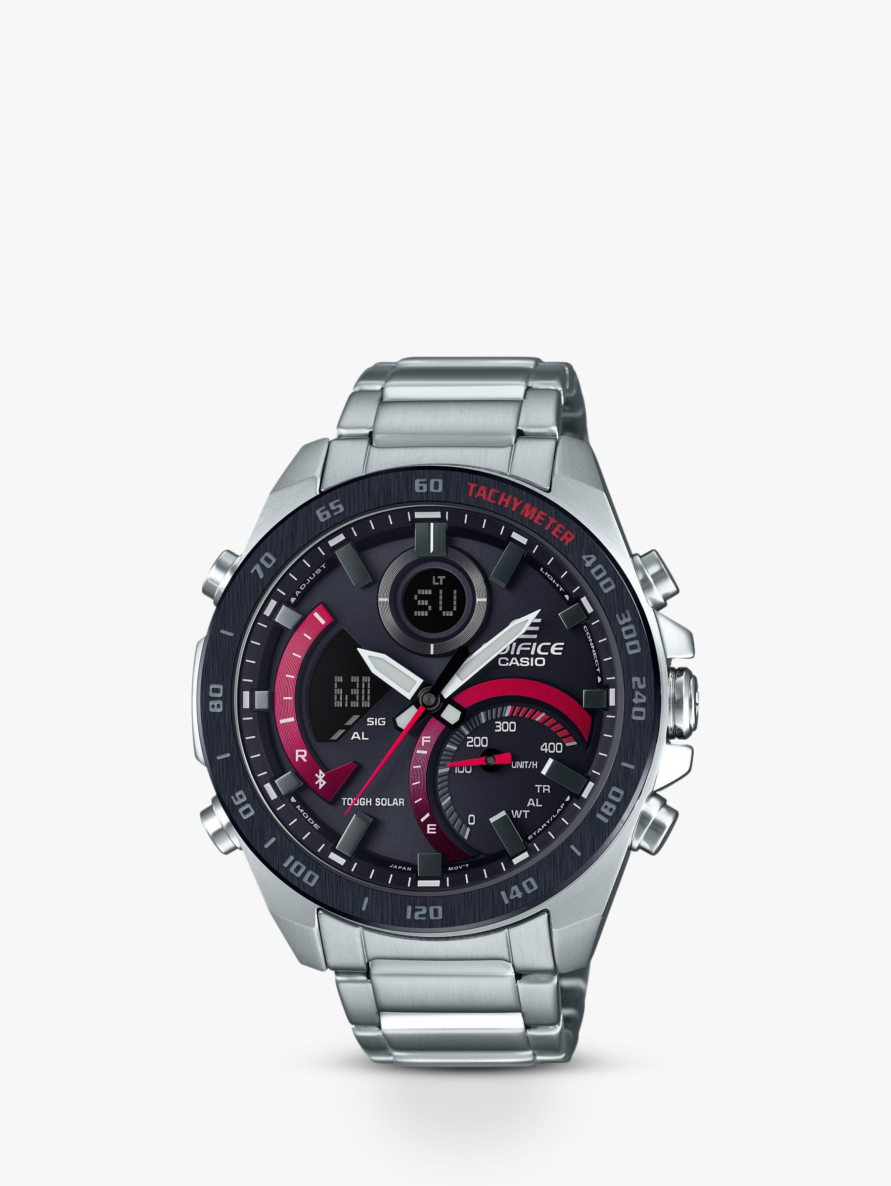 Casio Casio ECB-900DB-1AER Men's Edifice Solar Chronograph Date Bracelet Strap Watch, Silver/Black