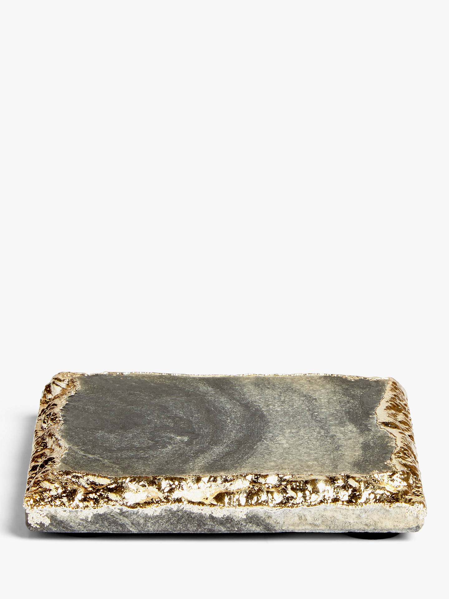 Buy John Lewis & Partners Marble Metallic Edge Coaster, Midnight Marble/Gold Online at johnlewis.com