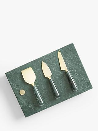 John Lewis & Partners Marble Cheese Board & 3 Knives Set, Green