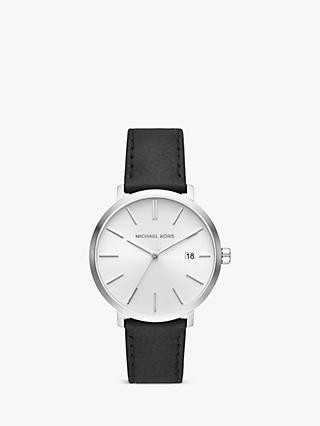1653091bf Michael Kors MK8674 Men's Blake Date Leather Strap Watch, Black/White