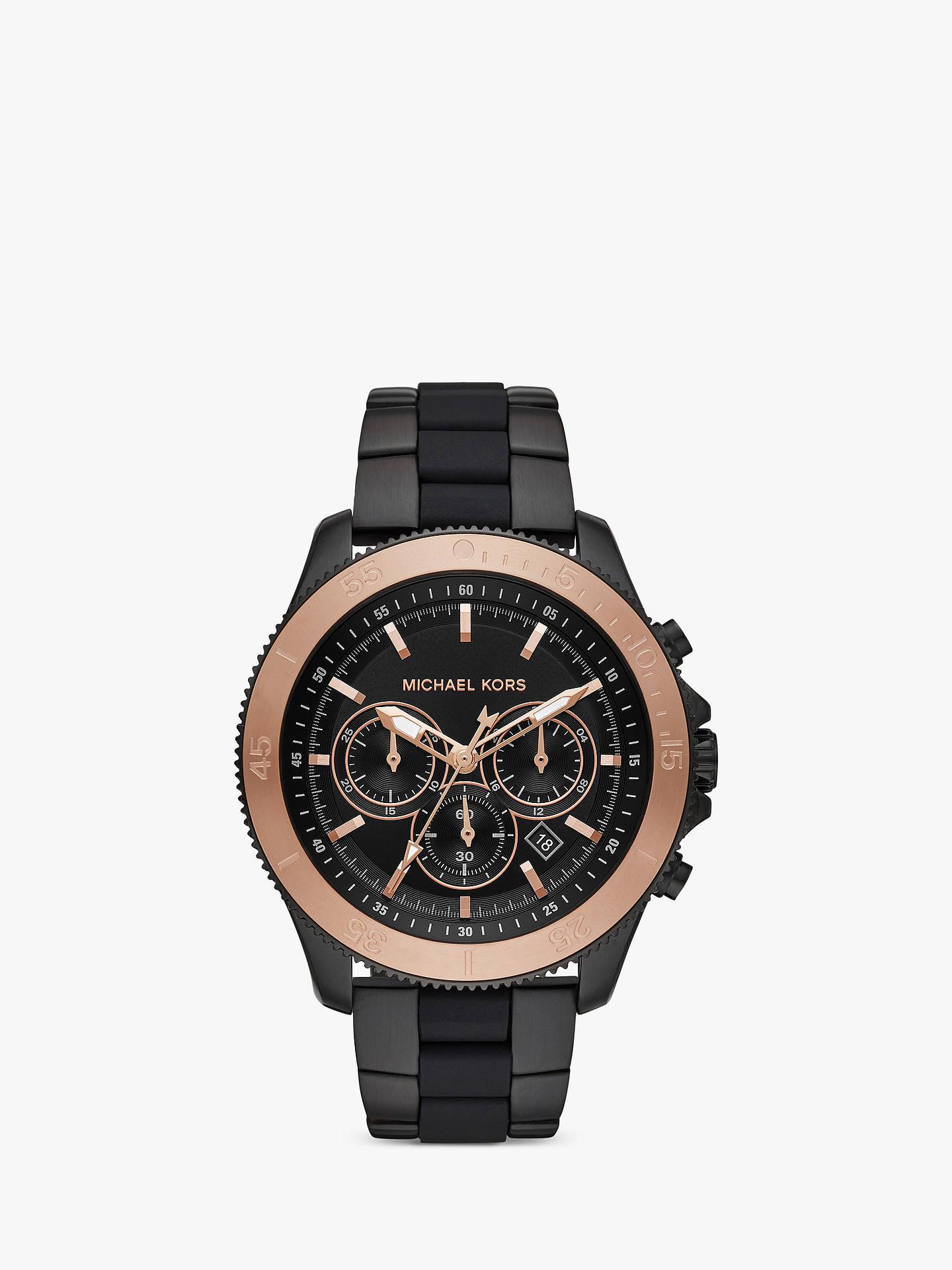 0e8e3d3987a Buy Michael Kors MK8666 Men's Theroux Chronograph Date Bi-Material Bracelet  Strap Watch, Black ...