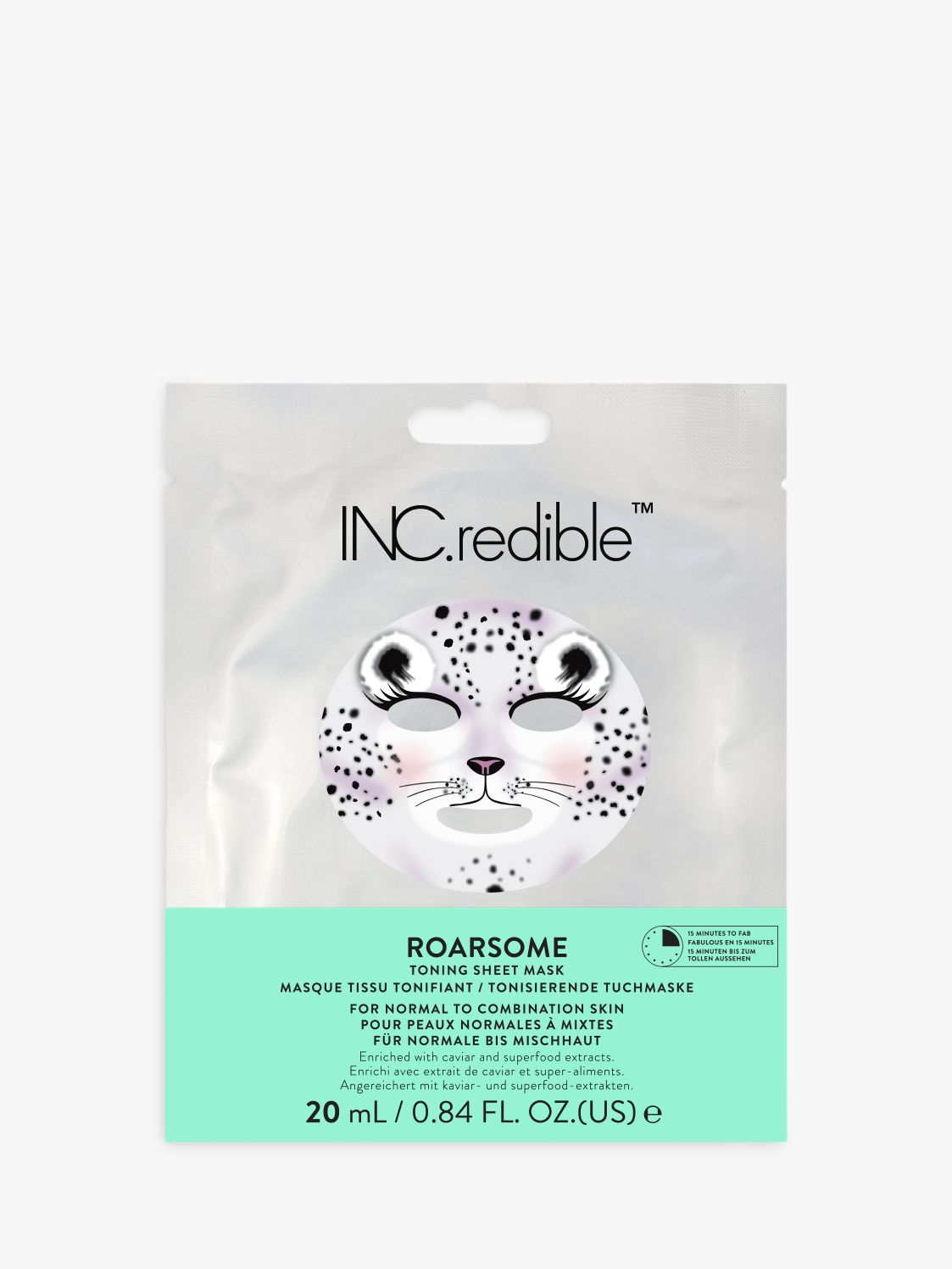 Nails Inc INC.redible Roarsome Sheet Mask, 20ml