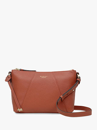 Buy Radley Wood Street Medium Leather Zip Top Cross Body Bag, Brown Online at johnlewis.com
