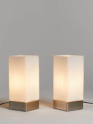 John Lewis & Partners Mitch Touch Lamps, Silver, Set of 2