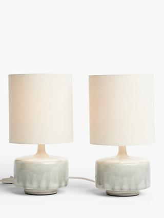 John Lewis & Partners Glazed Ceramic Table Lamps, Set of 2, Green