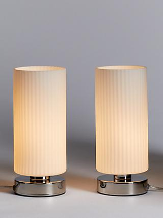 John Lewis & Partners Ridge Opal Glass Touch Lamps, White, Set of 2