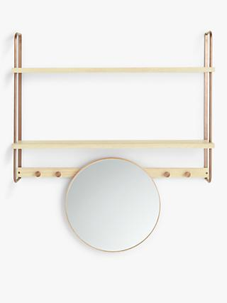 Design Project by John Lewis No.185 Mirror and Shelving Unit, Natural/Oak