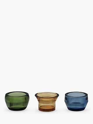 d72bfae98f Skultuna Kin Glass Tealight Holders, Set of 3, Green/Yellow/Blue