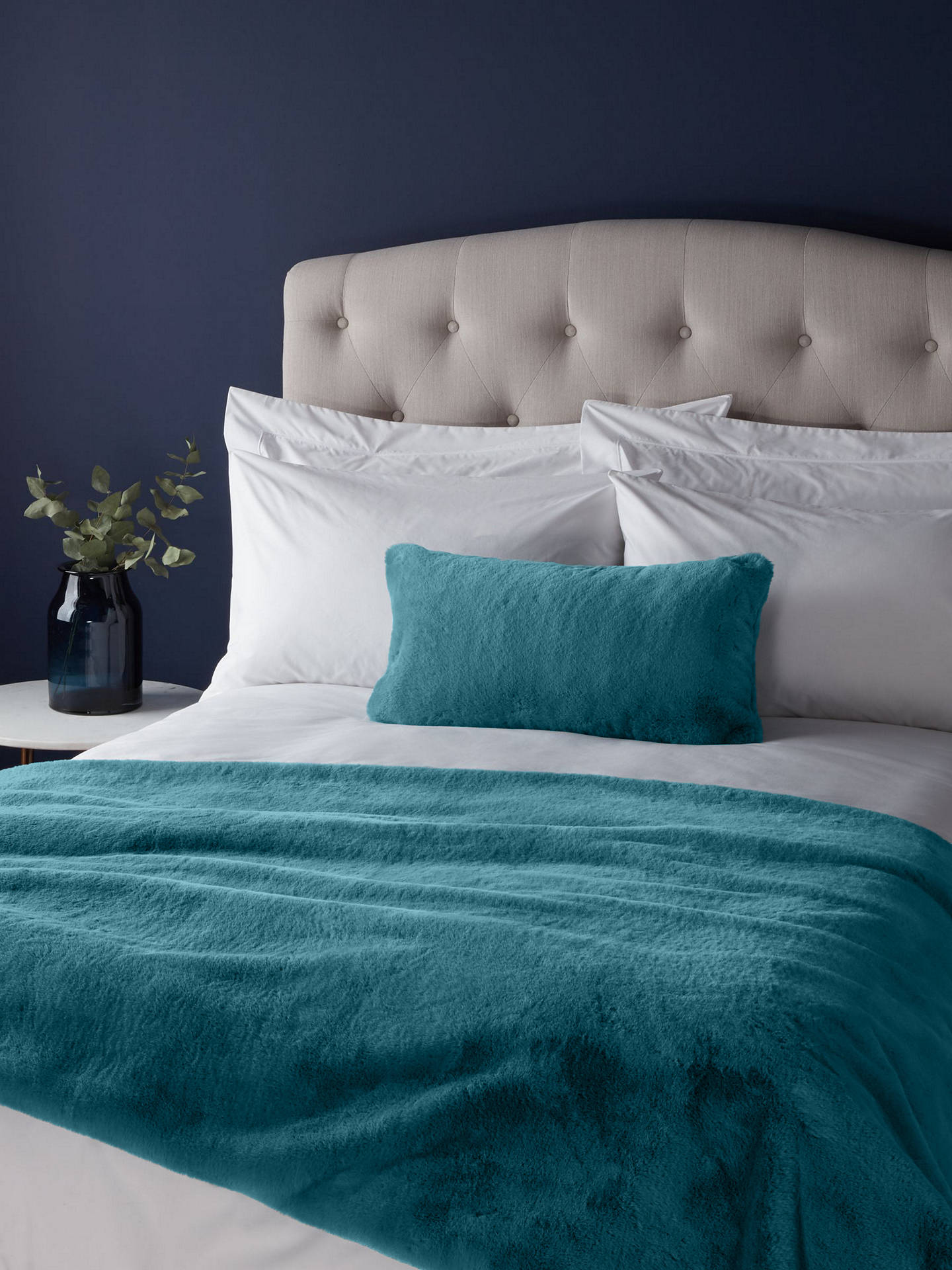 Buy John Lewis & Partners Premium Faux Fur Throw, Soft Teal Online at johnlewis.com