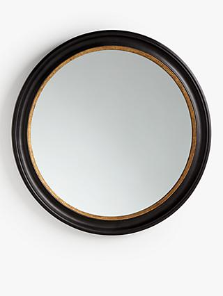 John Lewis & Partners Georgian Large Round Wood Mirror, 100cm, Black/Gold