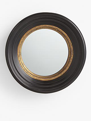 John Lewis & Partners Georgian Convex Round Wood Mirror, 52cm, Black/Gold