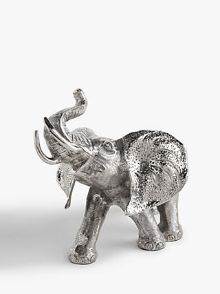 John Lewis & Partners Elephant Sculpture, H20cm, Antique Silver