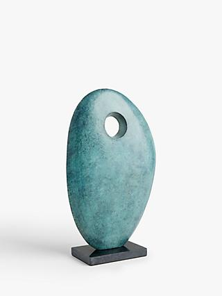 John Lewis & Partners Patina Pebble Hole Sculpture, Green, H40.5cm