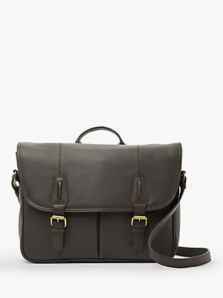 John Lewis & Partners Oxford Leather Messenger Bag, Brown