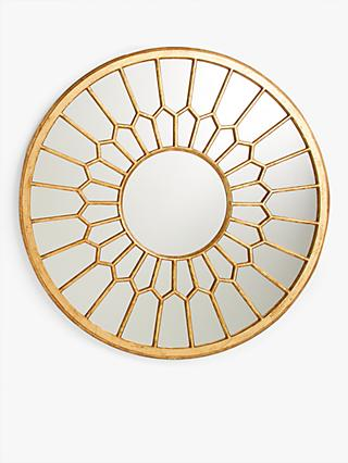 John Lewis & Partners Ronsta Decorative Carved Wood Round Mirror, 80cm, Gold
