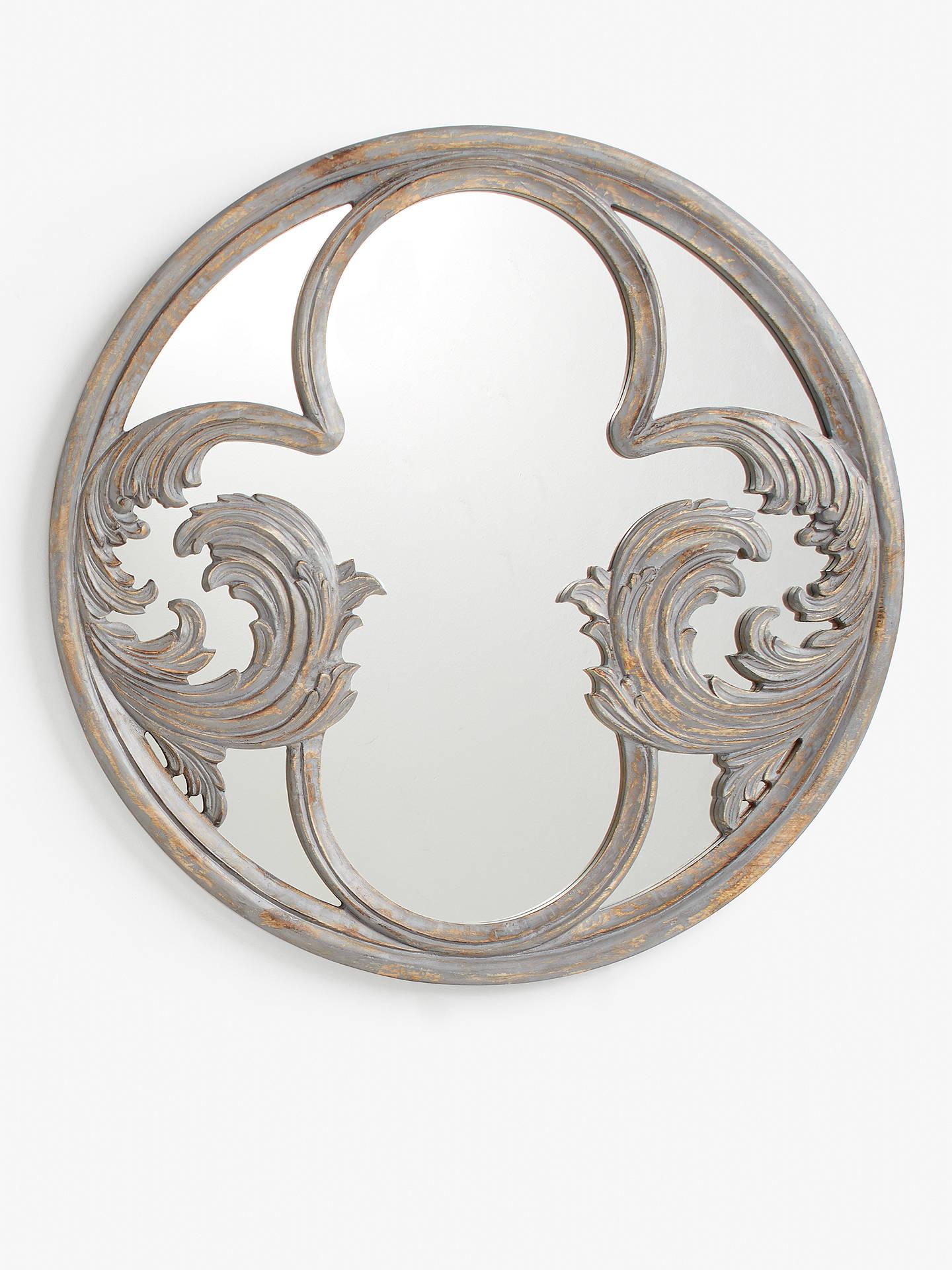 John Lewis Partners Decorative Carved Wood Round Mirror 80cm Grey