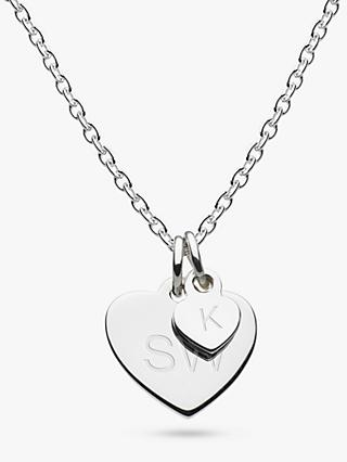 Kit Heath Personalised Girls Double Heart Pendant Necklace