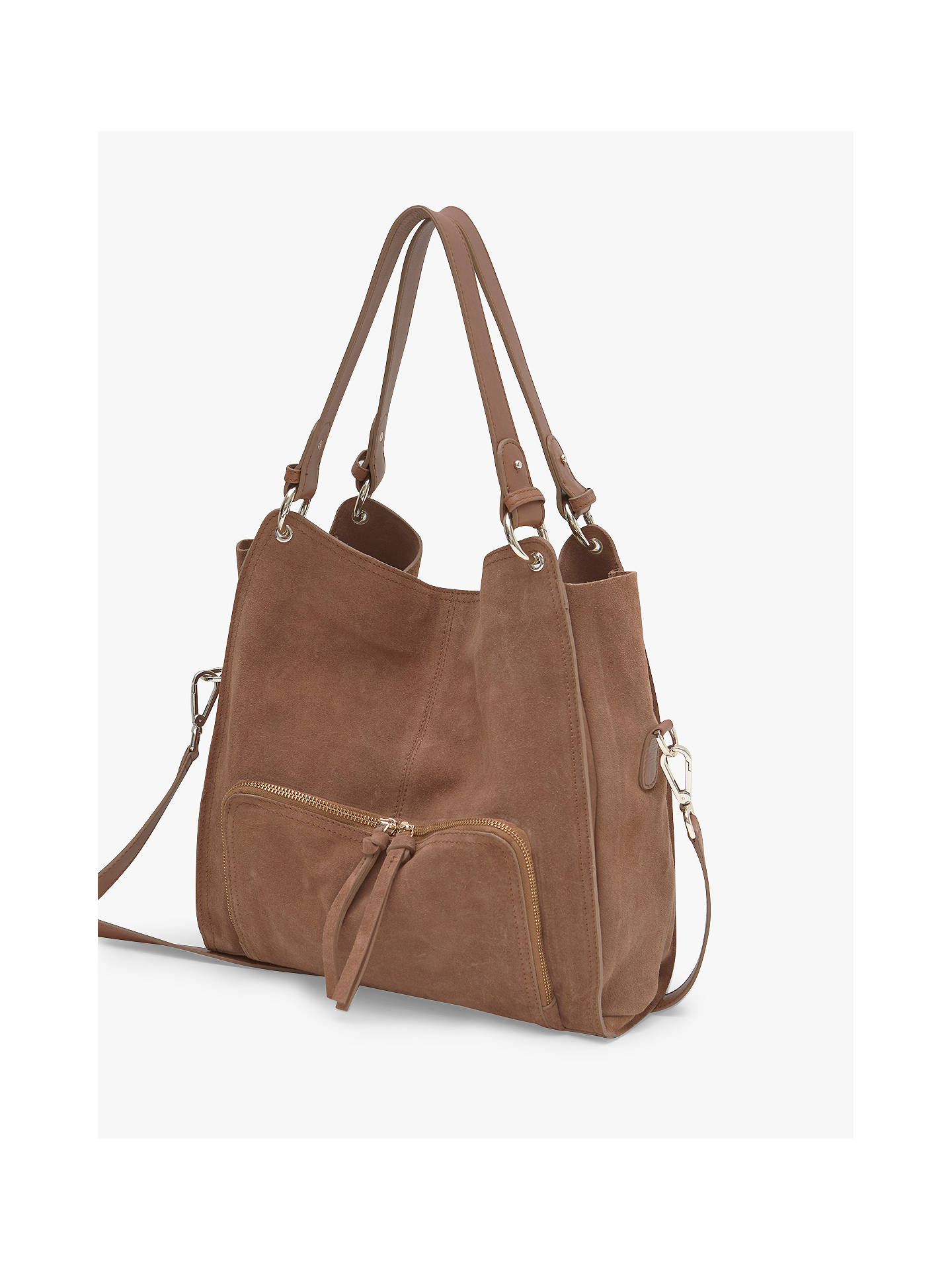 7a6a06f65ae305 ... Buy Mint Velvet Nelly Leather Slouch Tote Bag, Brown Online at  johnlewis.com