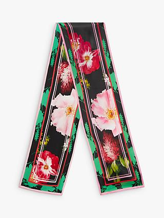 Ted Baker Bettiie Floral Silk Skinny Scarf, Black/Multi