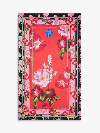 Ted Baker Brynley Wide Floral Scarf, Red/Multi