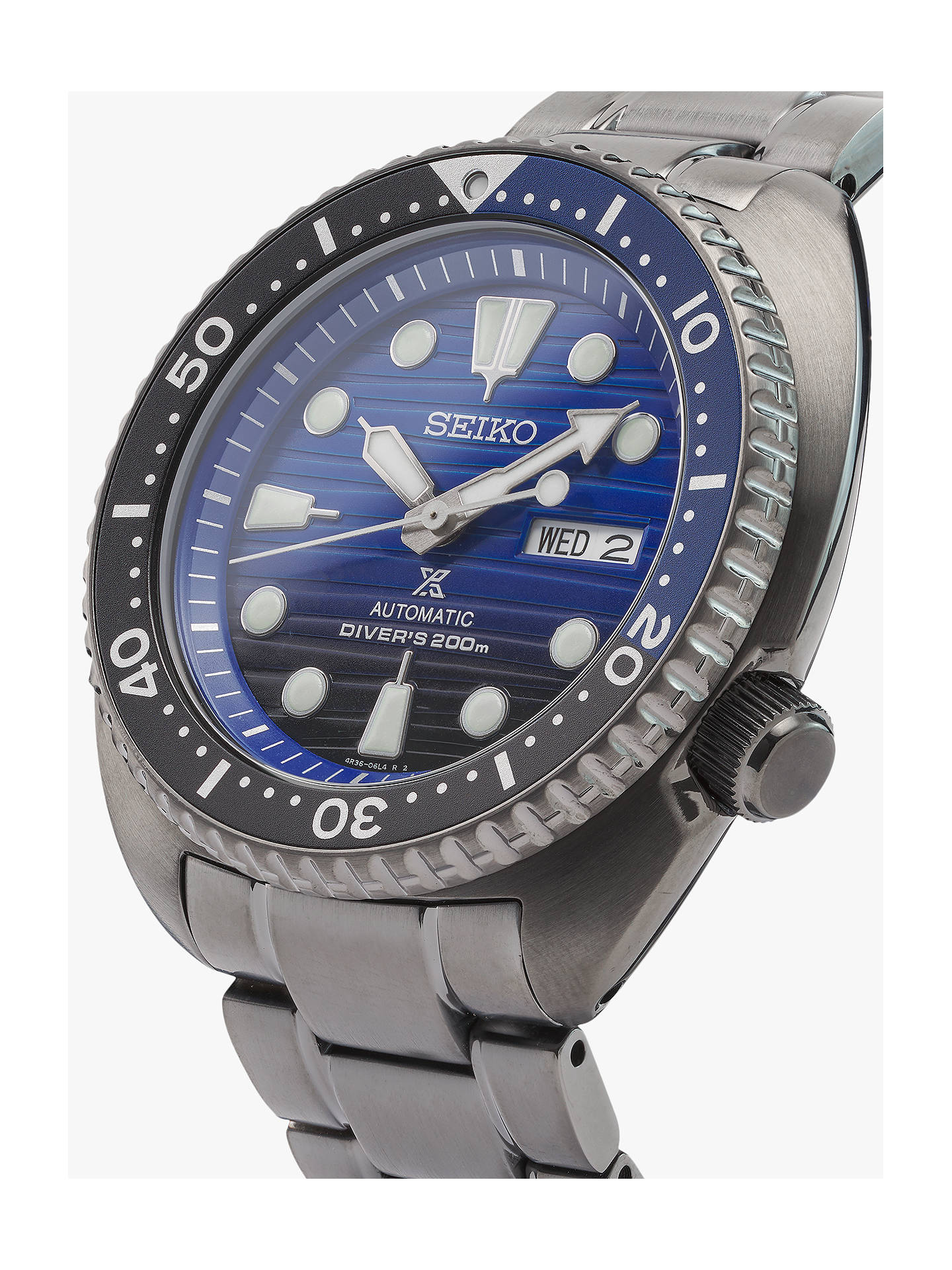 Seiko Srpd11k1 Men S Save The Ocean Day Date Automatic Bracelet Strap Watch Black Blue