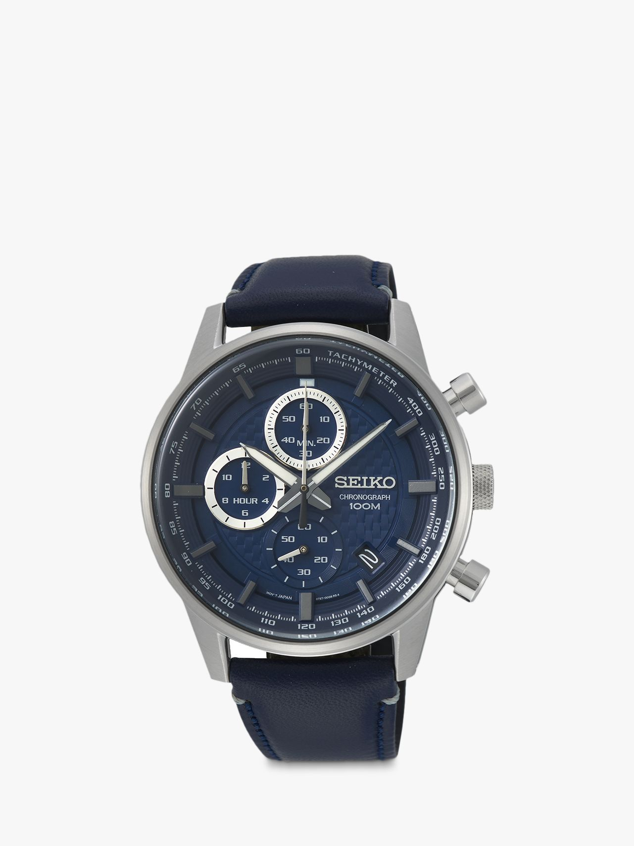 Seiko Seiko SSB333P1 Men's Chronograph Date Leather Strap Watch, Navy