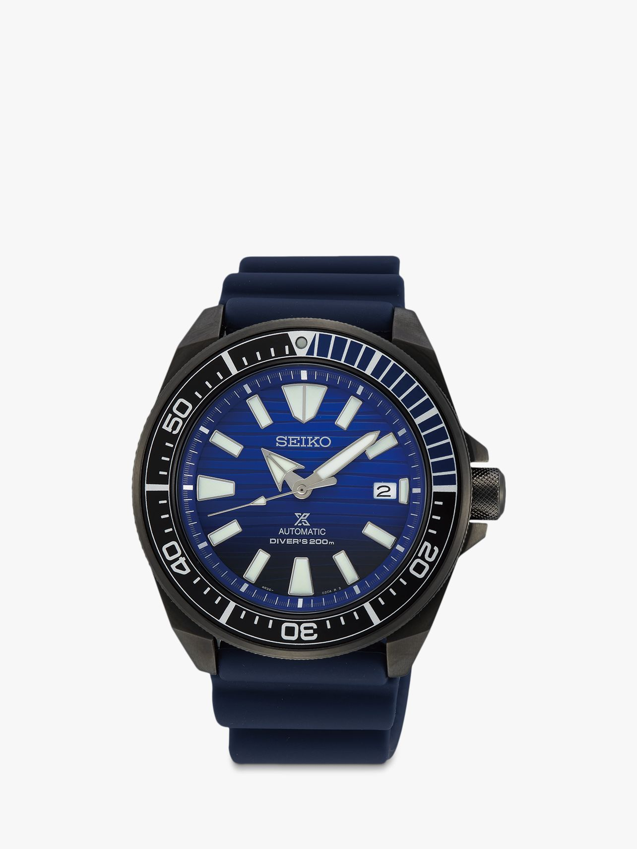 Seiko Seiko SRPD09K1 Men's Save The Ocean Date Automatic Silicone Strap Watch, Navy