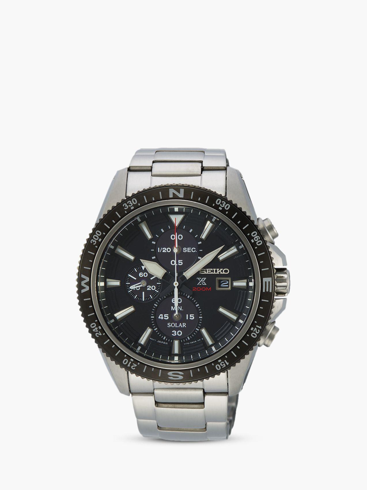 Seiko Seiko SSC705P1 Men's Land Prospex Chronograph Date Bracelet Strap Watch, Silver/Black