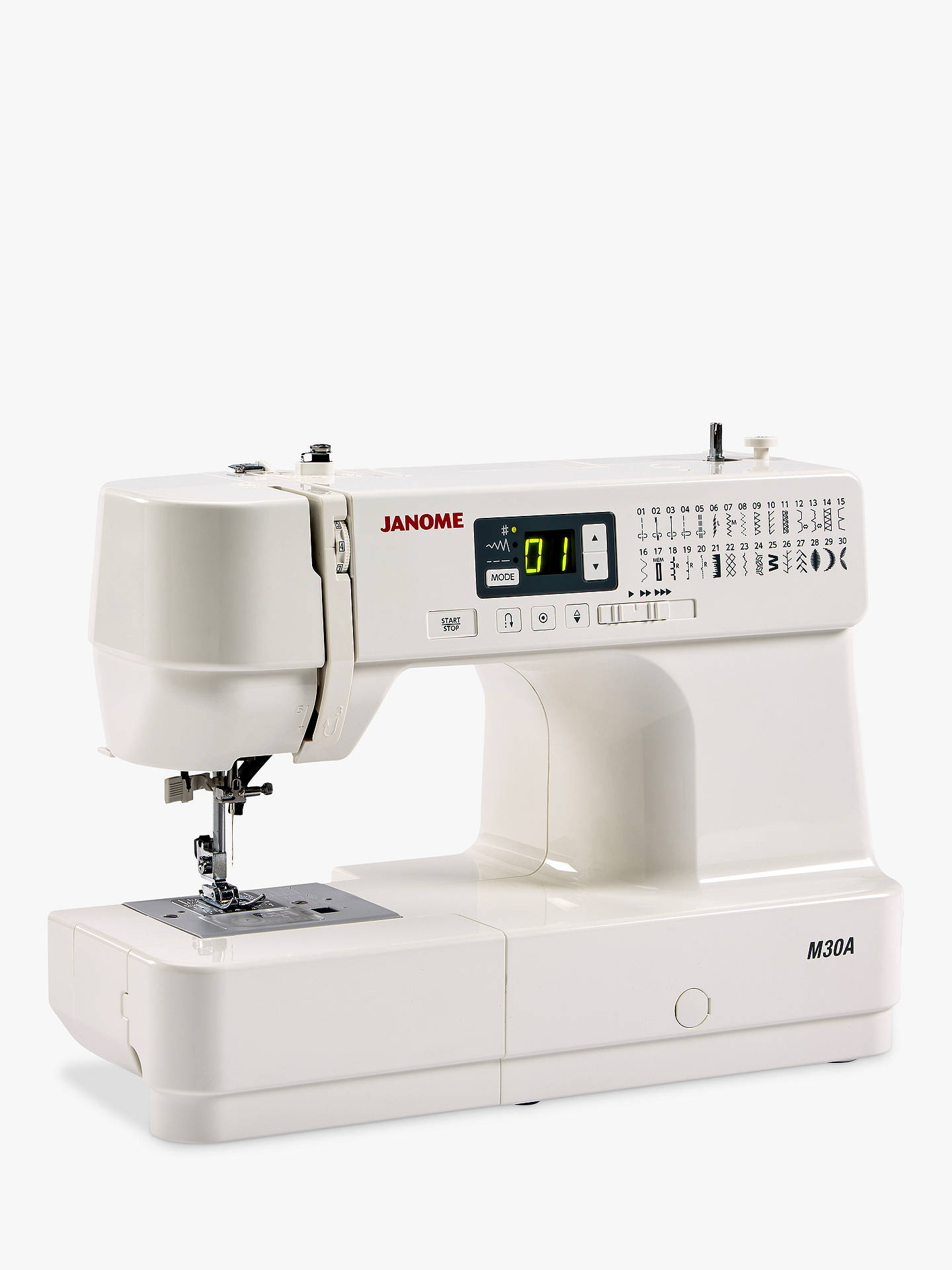 Buy Janome M30A Sewing Machine, White Online at johnlewis.com