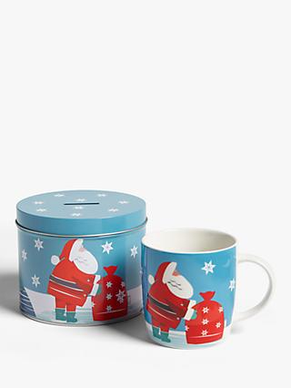 John Lewis & Partners Santa China Mug In A Money Box Tin, 350ml, Blue/Red