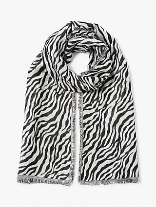 Collection WEEKEND by John Lewis Kenya Zebra Print Scarf, White/Multi