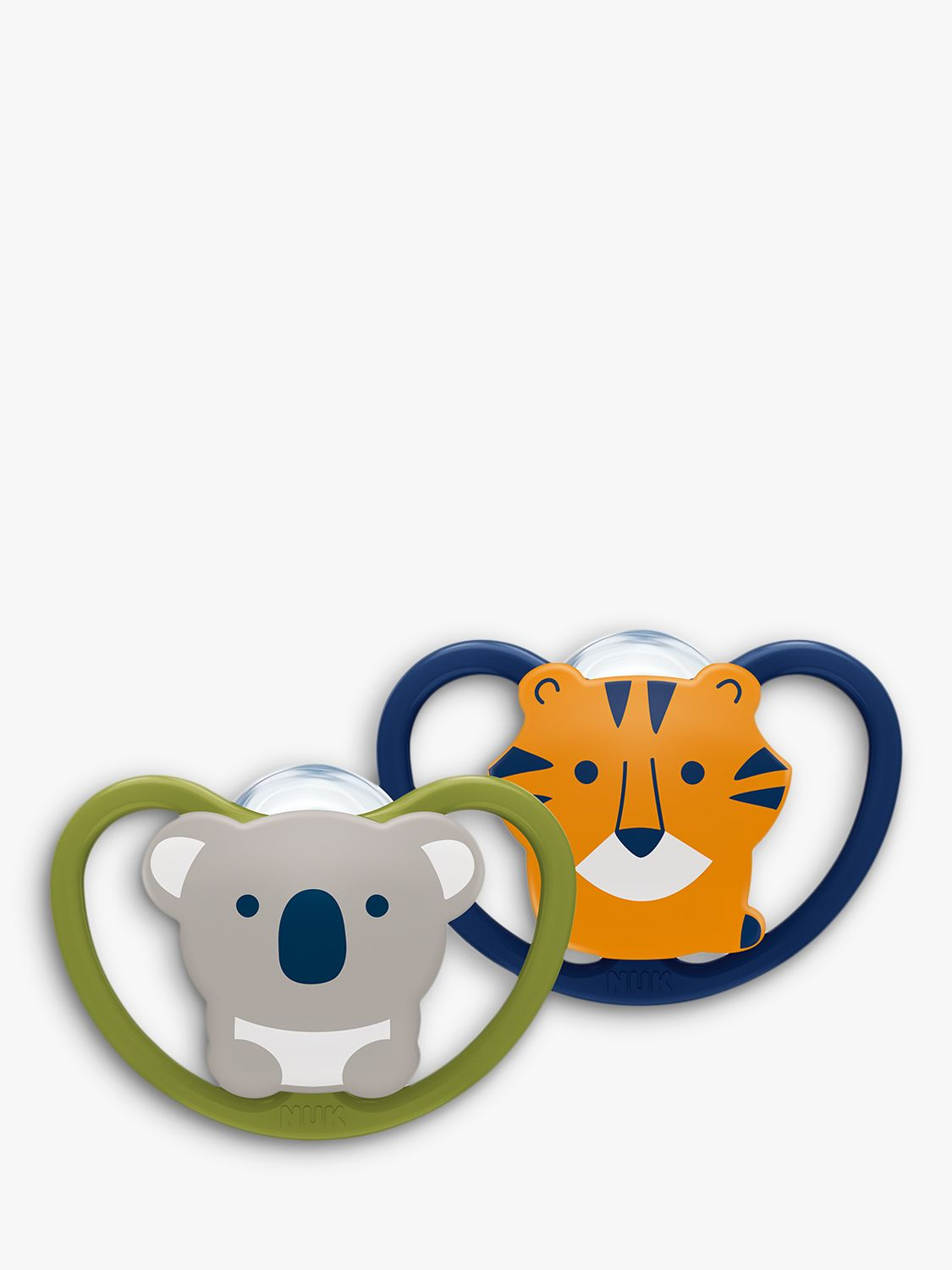 NUK NUK Size 2 Koala and Tiger Silicone Soother, 6-18 months, Pack of 2