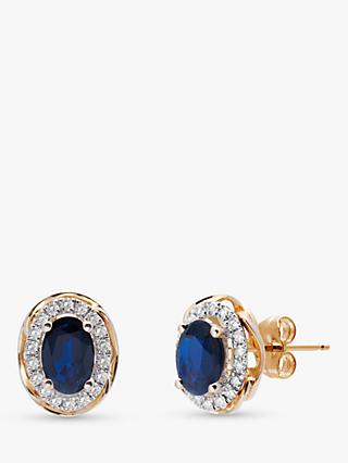 A B Davis 9ct Gold Diamond and Sapphire Oval Stud Earrings