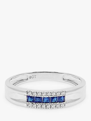 A B Davis 9ct White Gold Diamond and Sapphire Curve Ring