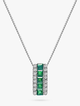 d901616b9 A B Davis 9ct White Gold Diamond and Emerald Rectangular Pendant Necklace