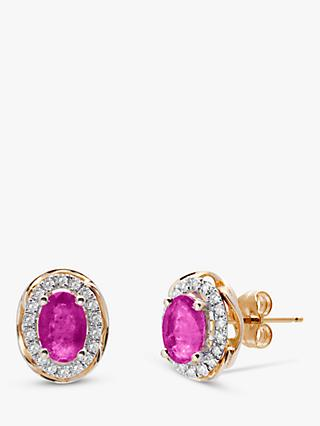 A B Davis 9ct Gold Ruby and Diamond Oval Stud Earrings
