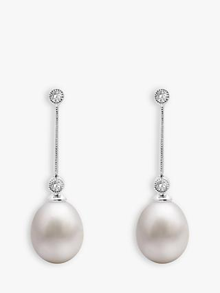 A B Davis 9ct White Gold Freshwater Pearl and Diamond Chain Drop Earrings