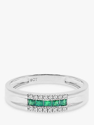 A B Davis 9ct White Gold Diamond and Emerald Curve Ring